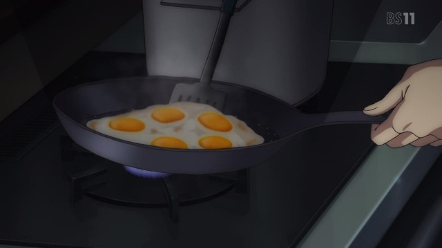 This was the only scene to inspire emotion in me, and that was horror at MC-kun cooking something with five eggs that's not a fucking omelette.